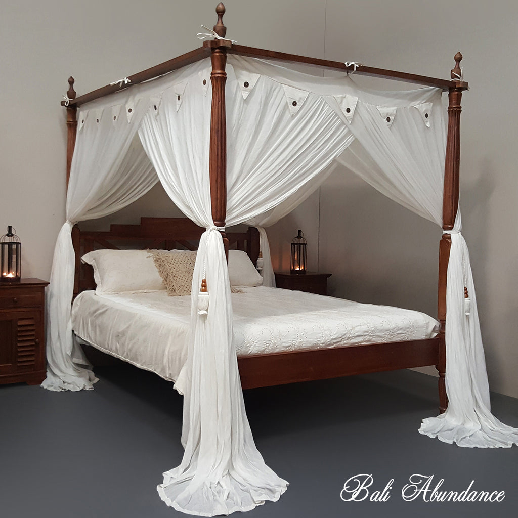 Hand Carved Bed: Hand Carved Teak SEASIDE Four Poster Bed In WHITEWASH