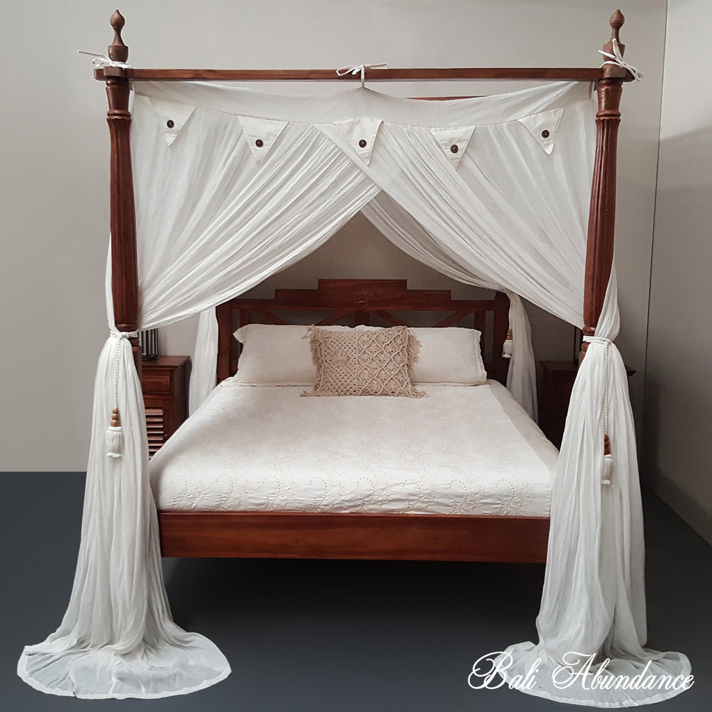Hand Carved Bed: Hand Carved Teak SEASIDE Four Poster Bed In CHESTNUT