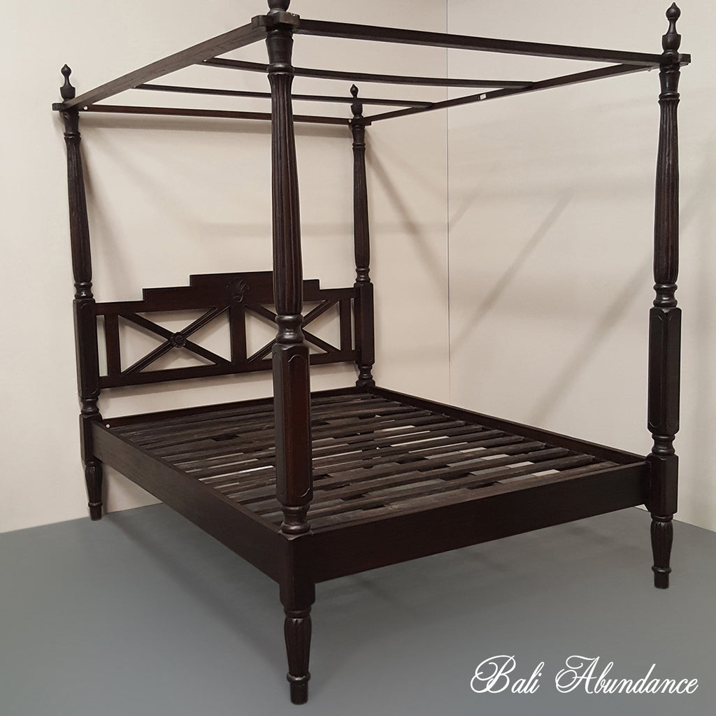 4 four poster bed bali handcarved walnut seaside
