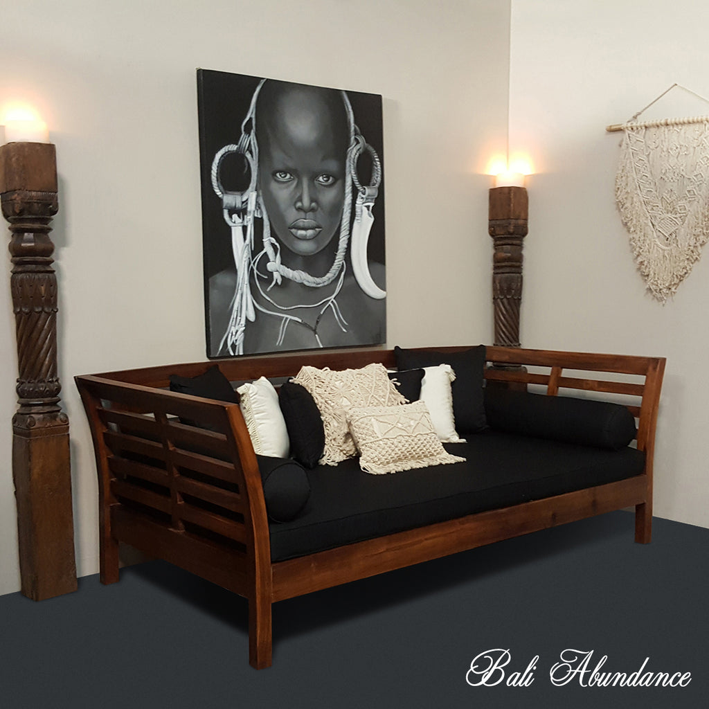 Minimalistic Daybed with 7 Piece Cushion Set CHESTNUT