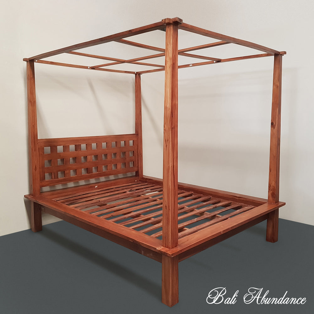 4 four poster bed bali handcarved chestnut mimi