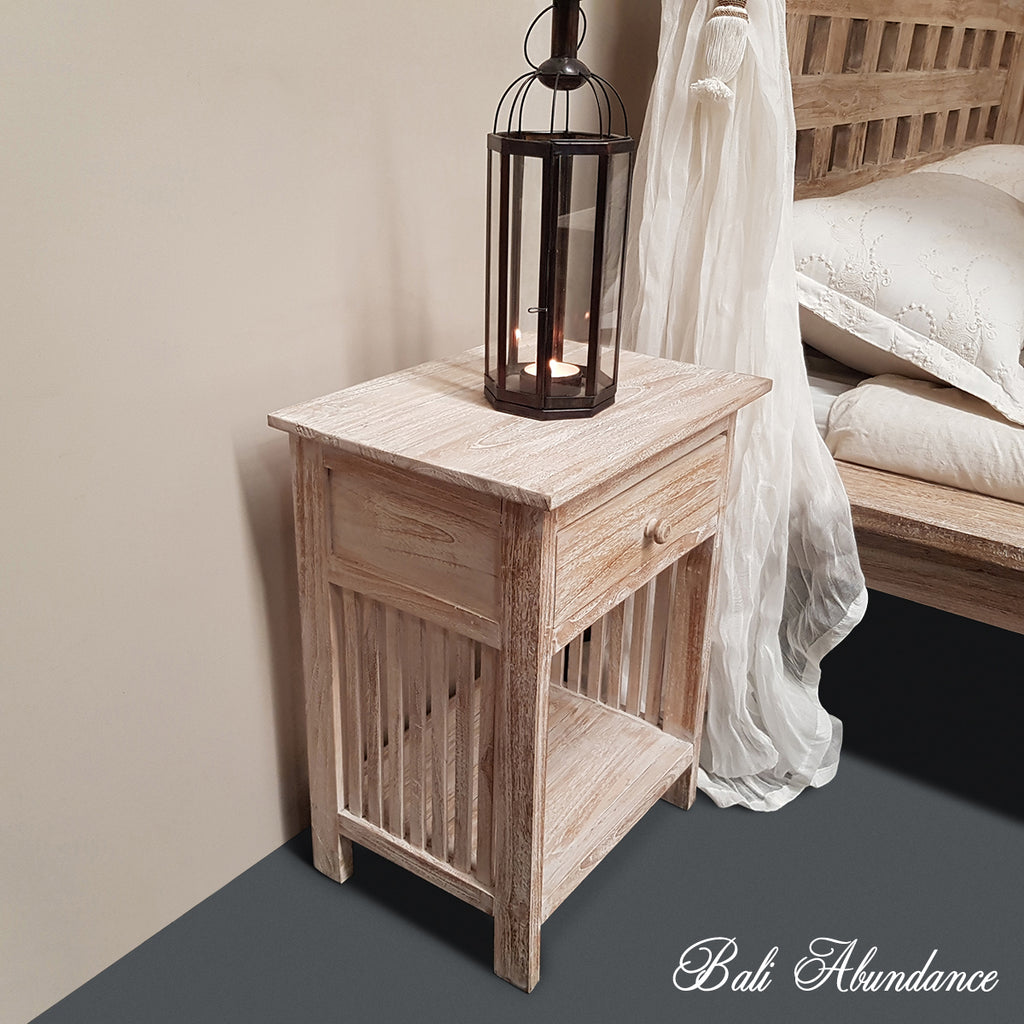 Hand Carved Teak MINIMAL Bedside Table in WHITEWASH