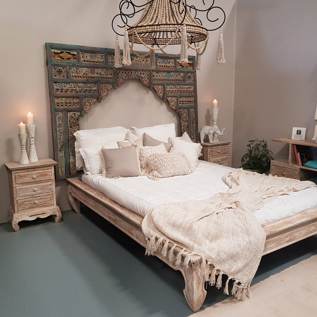Minimalistic Hand Carved Teak Bed Frame Bali whitewash