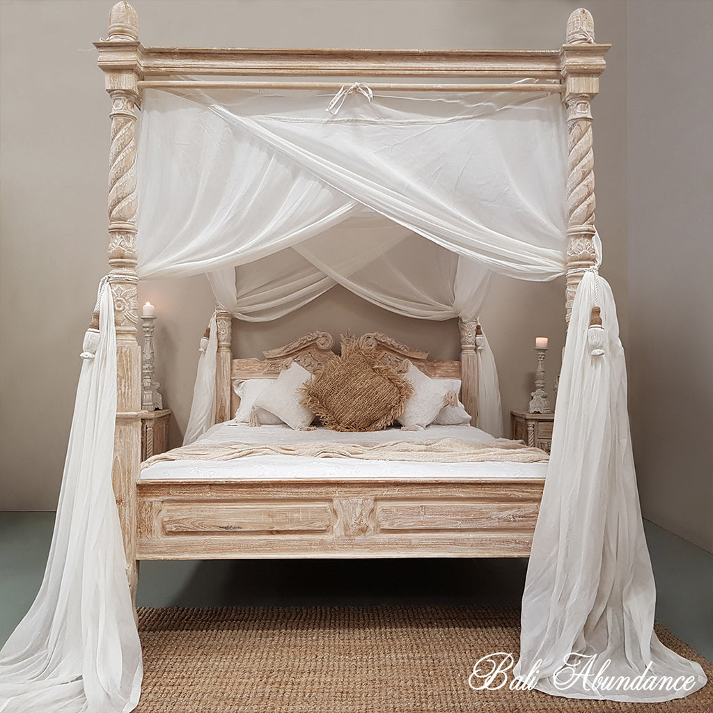 Four Poster Bed Hand Carved Teak CLASSIC in WHITEWASH