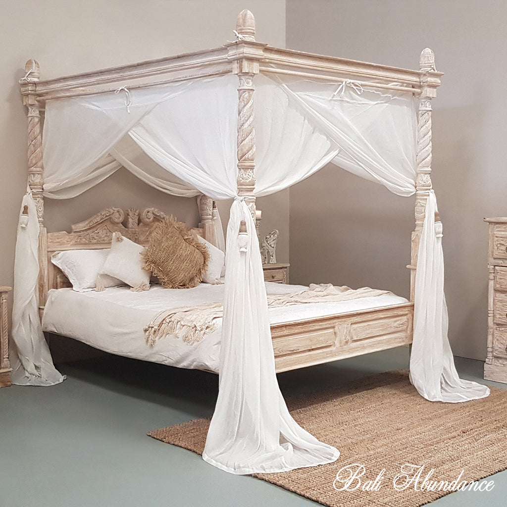 Canopy Bed.Four Poster Bed Hand Carved Teak Classic In Whitewash Bali Abundance