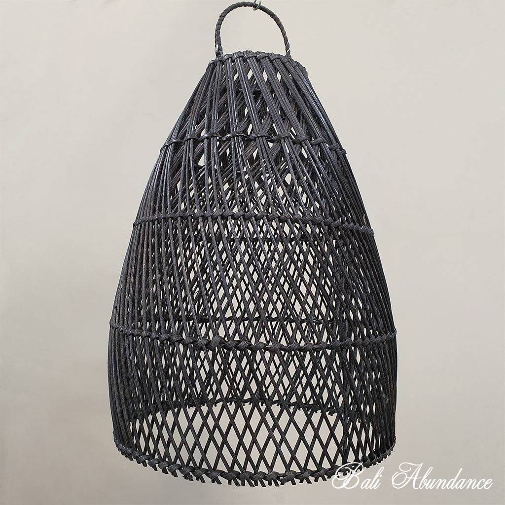 Handmade Rattan Light Shade Pendant - Black