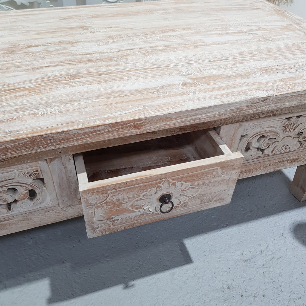 Hand Carved Drawer Coffee Table - Whitewash