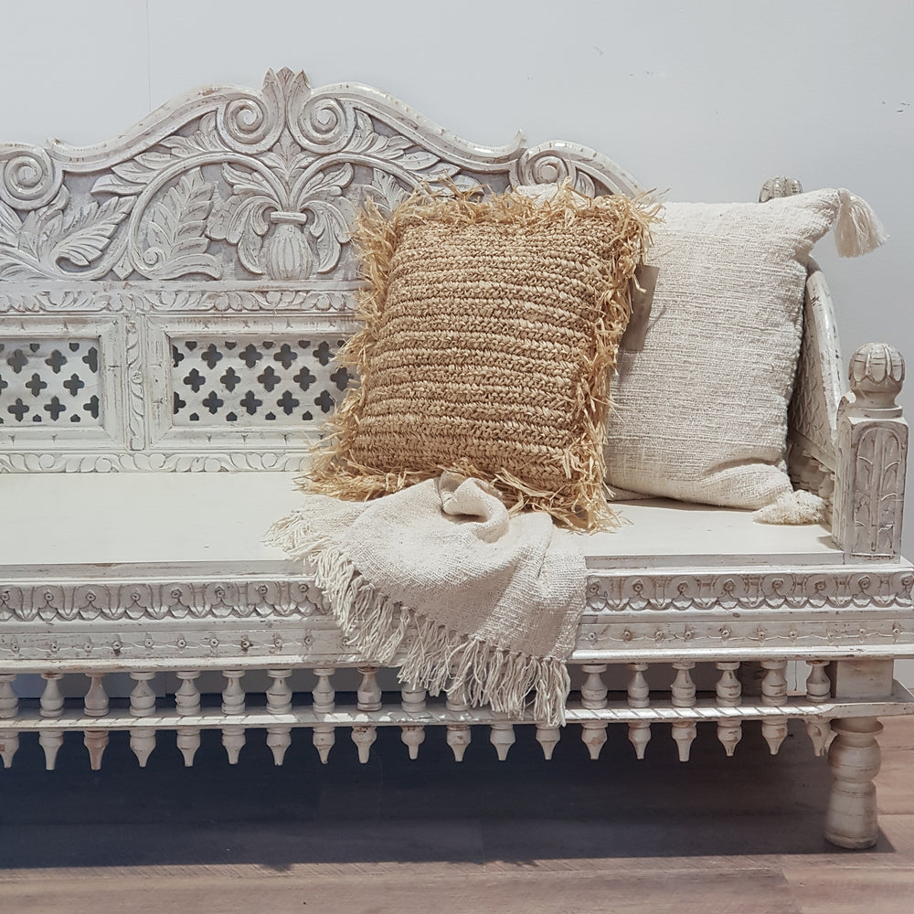 Indian Hand Carved Daybed Bench Seat - Eco Village Collection 43U