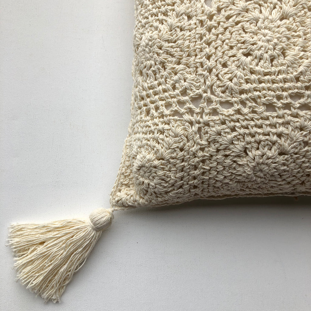 GOOD KARMA Crochet Cushion Cover with Fringe - Cream