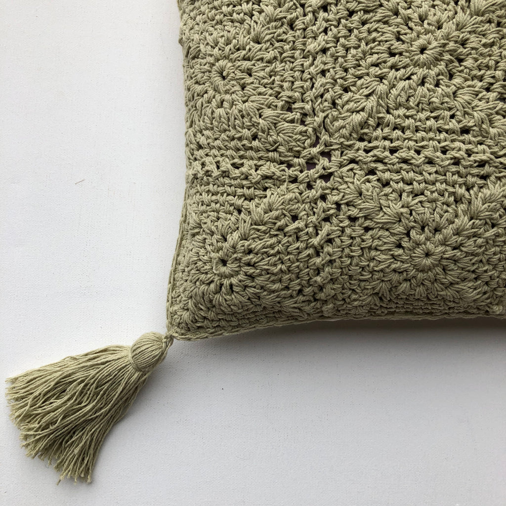Good Karma Crochet Cushion Cover with Fringe - Green