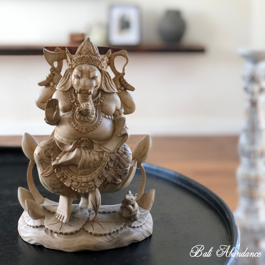Hand Carved Timber Ganesha Statue - 209N