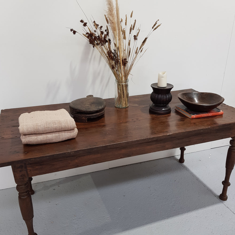 Balinese Vintage Hand carved Table Chestnut