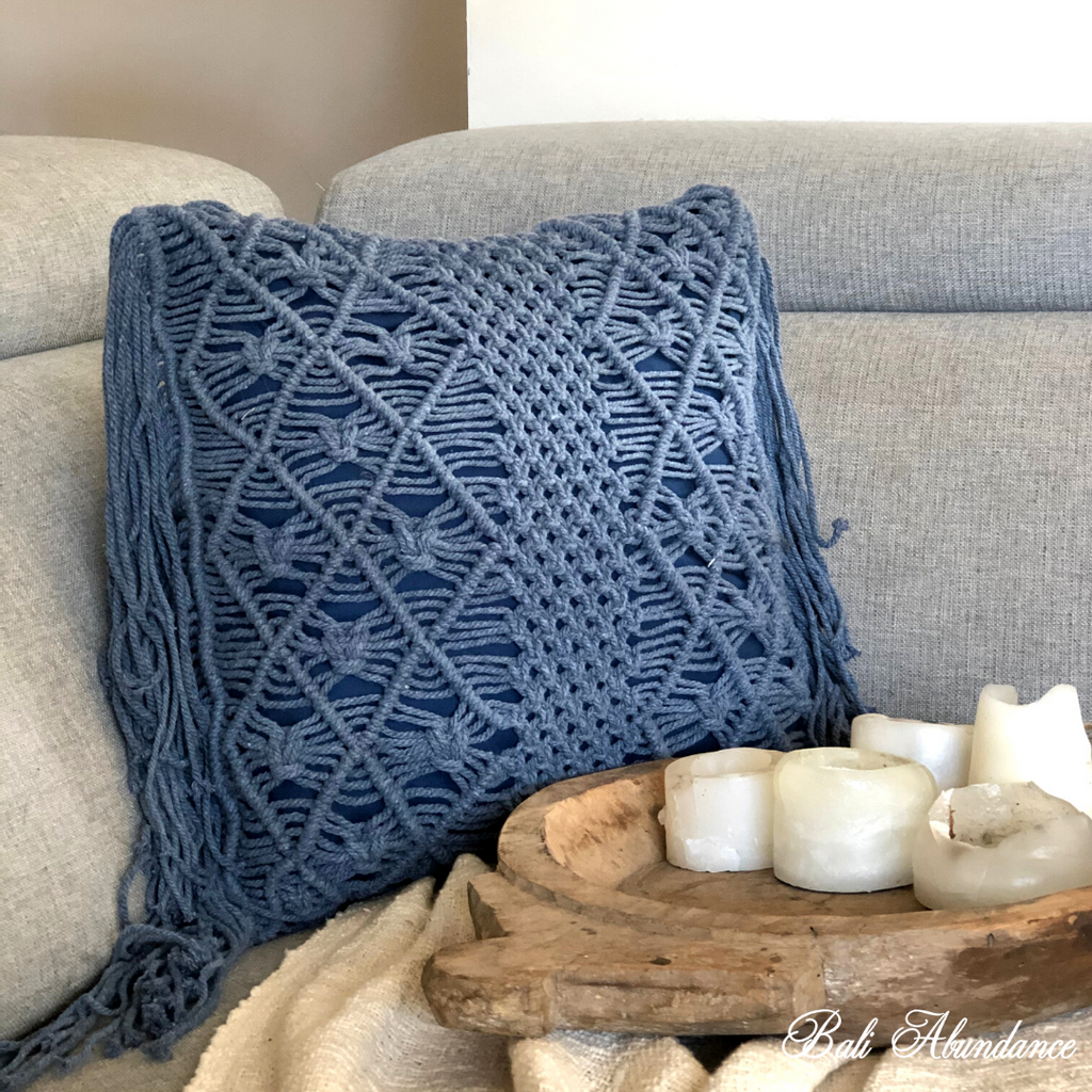 Love Macrame Cushion Cover with Fringe - Deep Blue