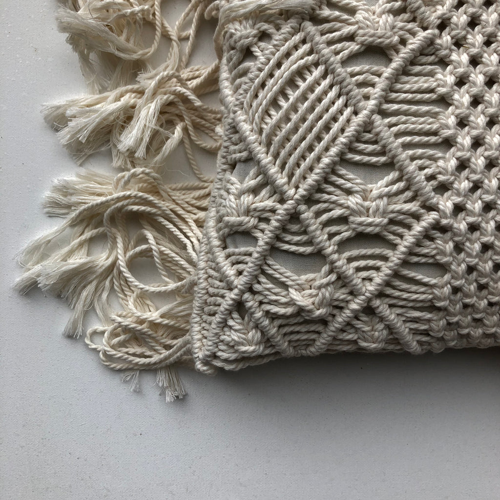 Love Macrame Cushion Cover with Fringe - Cream