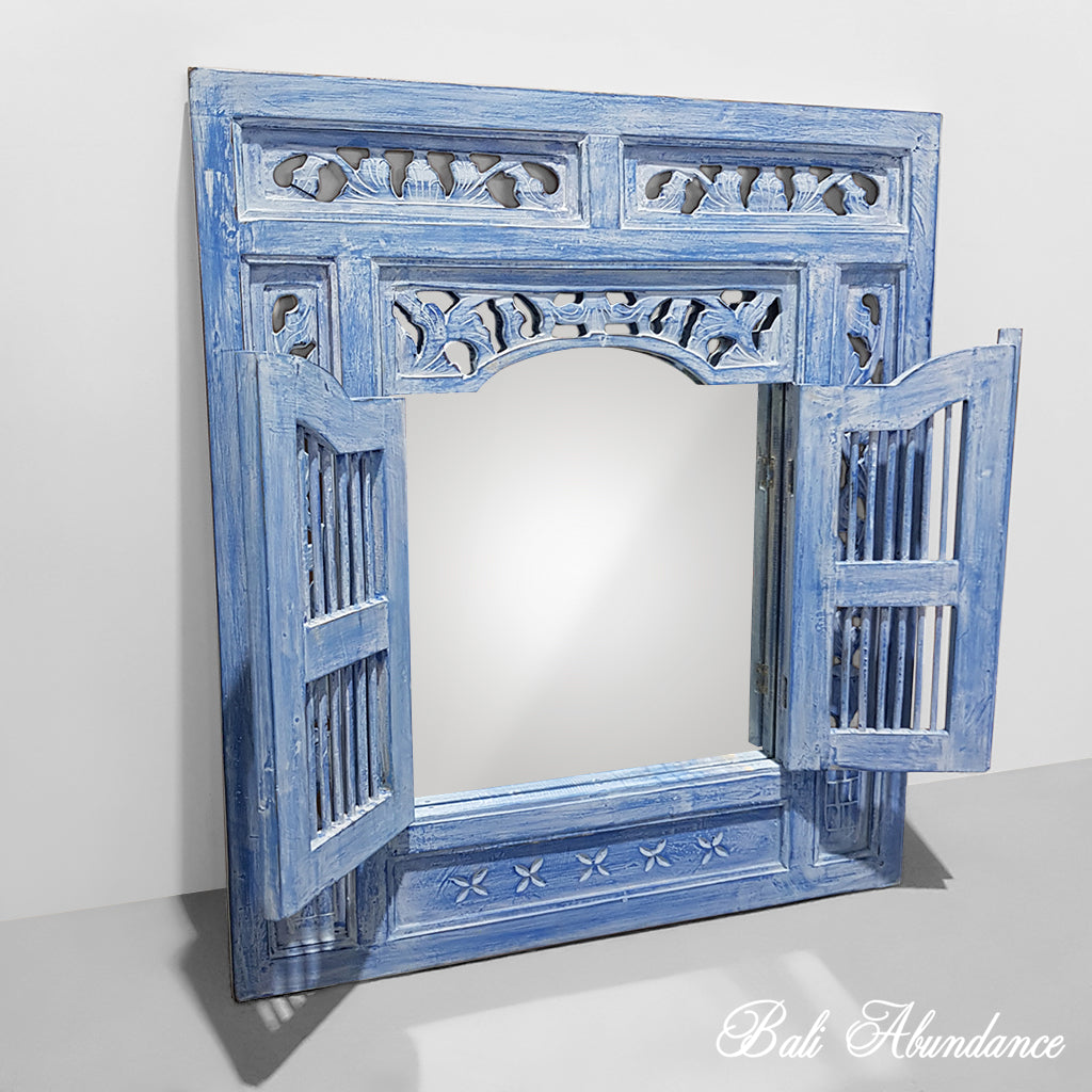 PRE ORDER Balinese Hand Carved Prison Mirror - Bluewash