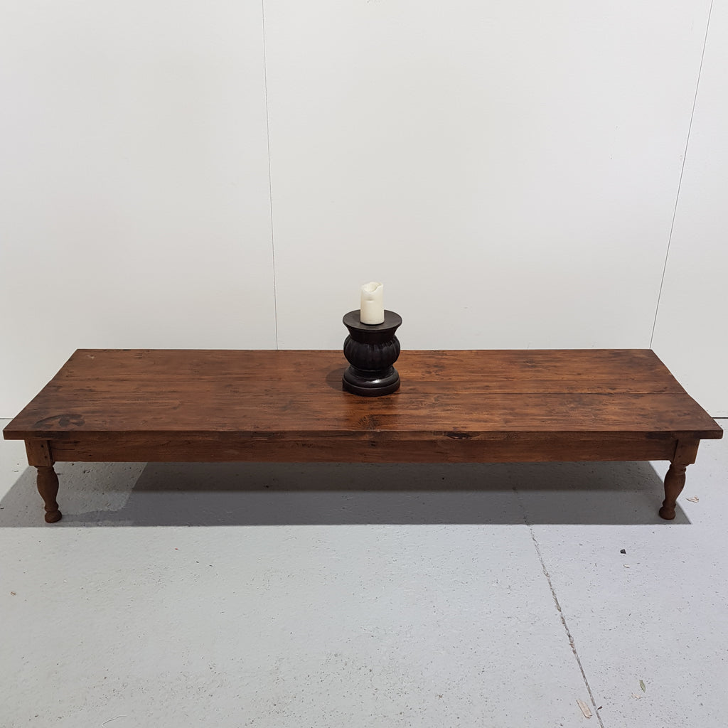 Hand Carved Low line Coffee Table - Chestnut