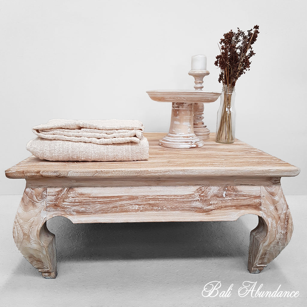 Whitewash Coffee Table Opium Balinese Wood