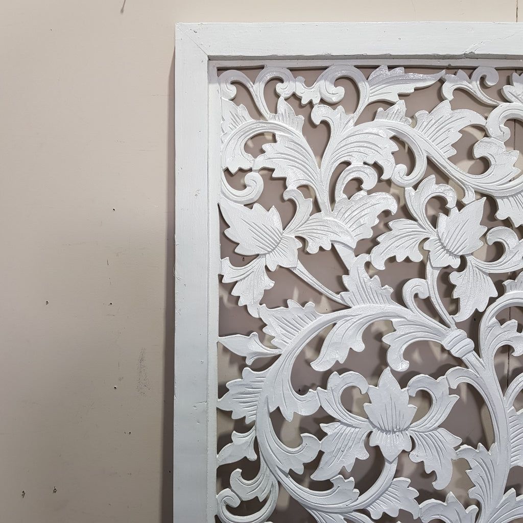 Hand Carved Panel WHITE 190 X 60