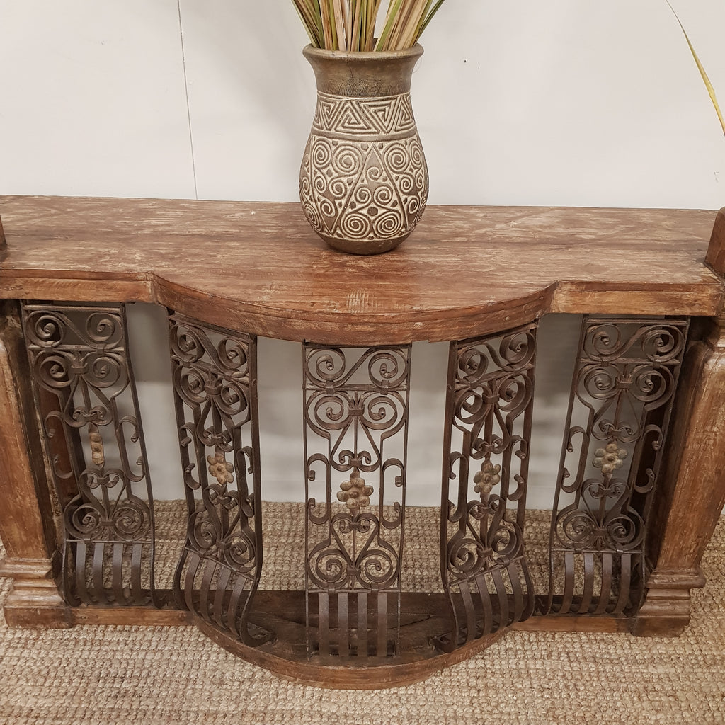 Indian Bar Counter Table with Vintage Iron - Eco Village Collection