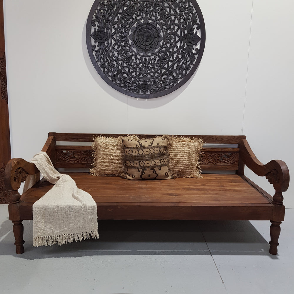 PRE ORDER Balinese Hand Carved Natural Daybed