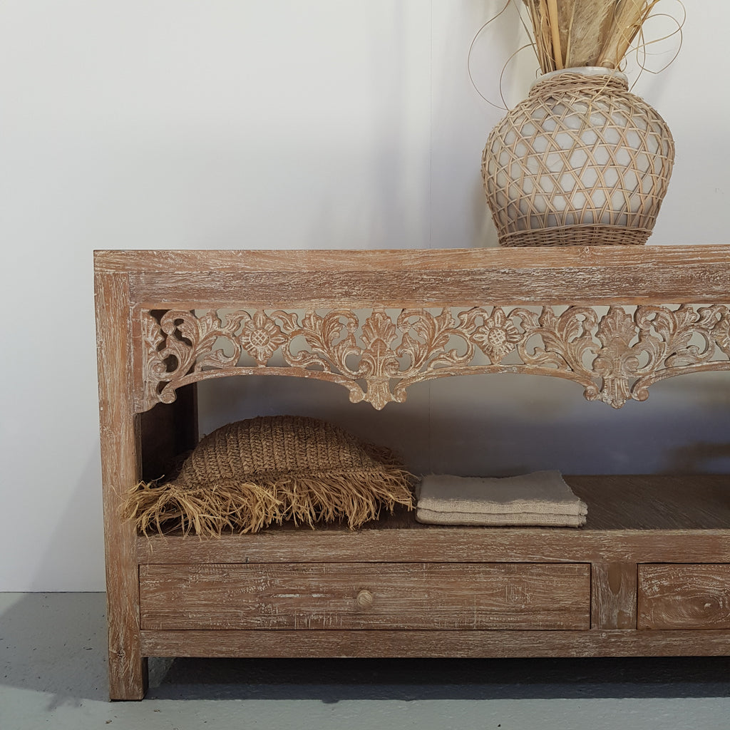 Balinese Hand Carved 2 Drawer Console - Whitewash