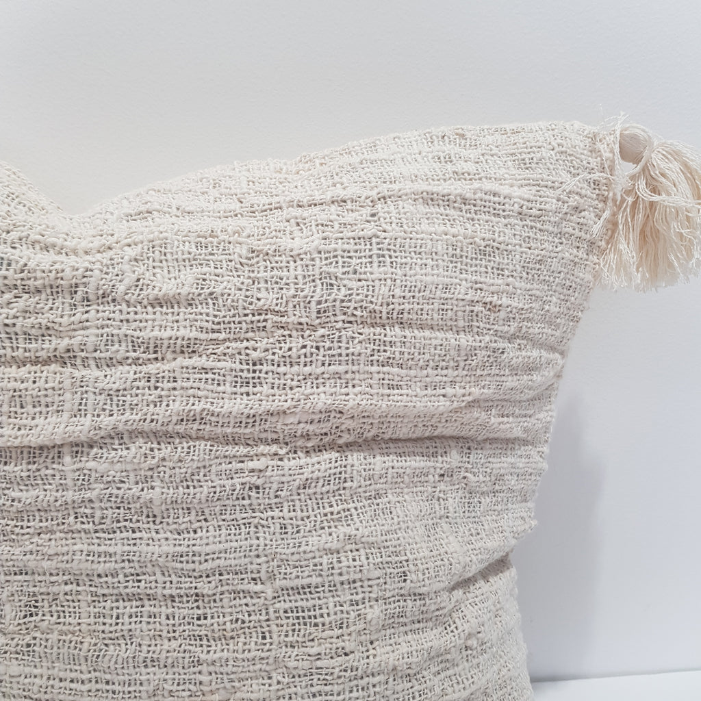 Cotton Cushion Cover with Tassels - Cream 45 x 45