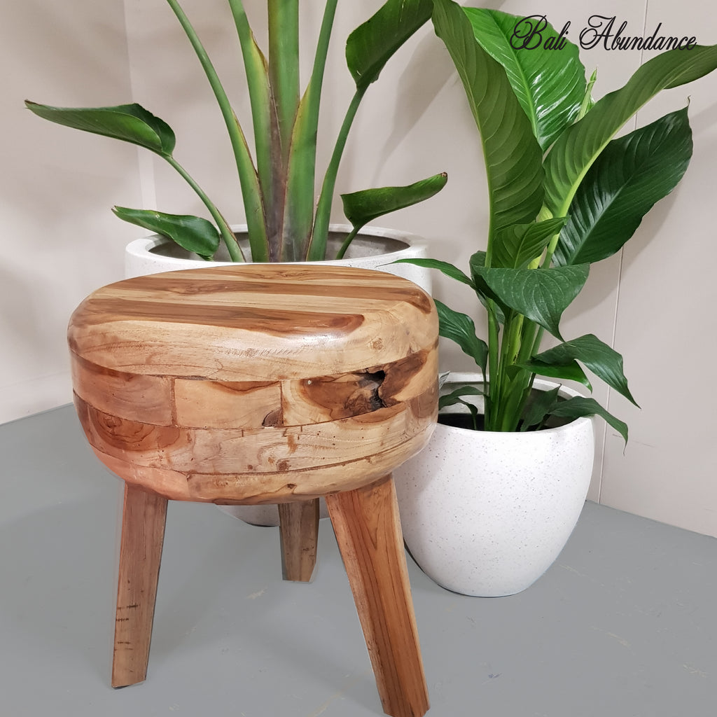 Hand Made Mosaic Teak Wood Round Stool
