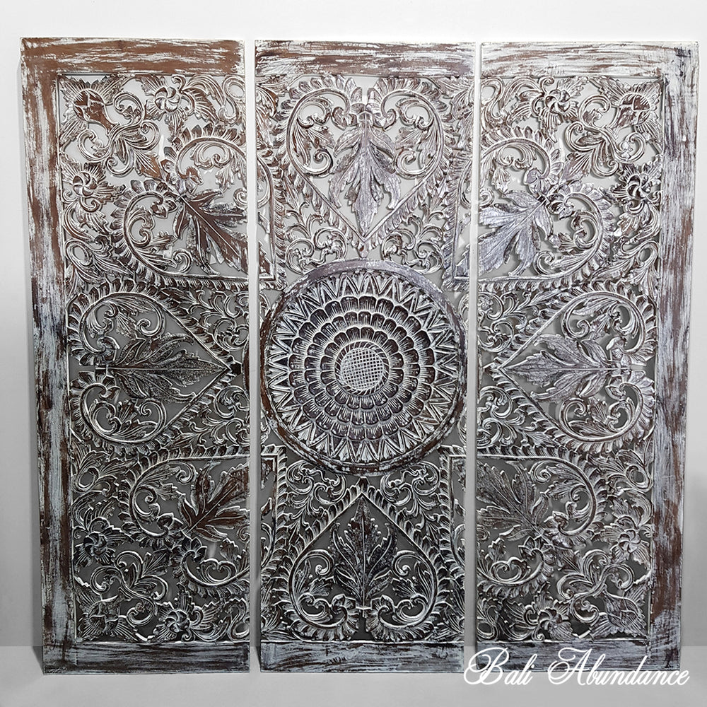 PRE ORDER Hand Carved 3 Piece Wall Panel BROWNWASH 180 x 180