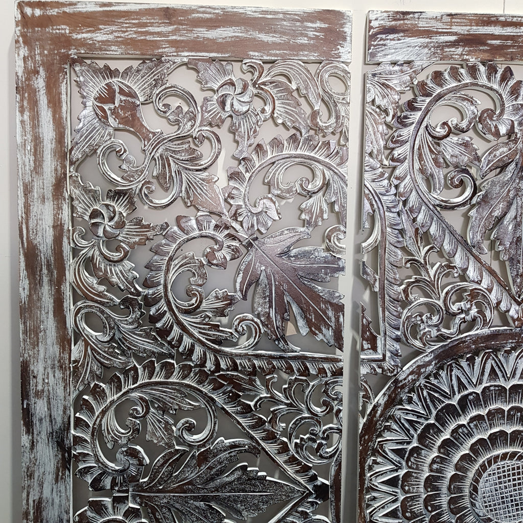 Hand Carved 3 Piece Wall Panel BROWNWASH 180 x 180