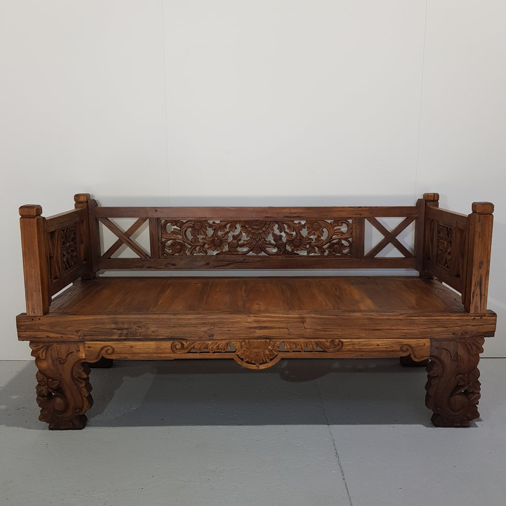 Balinese Hand Carved Small Natural Daybed