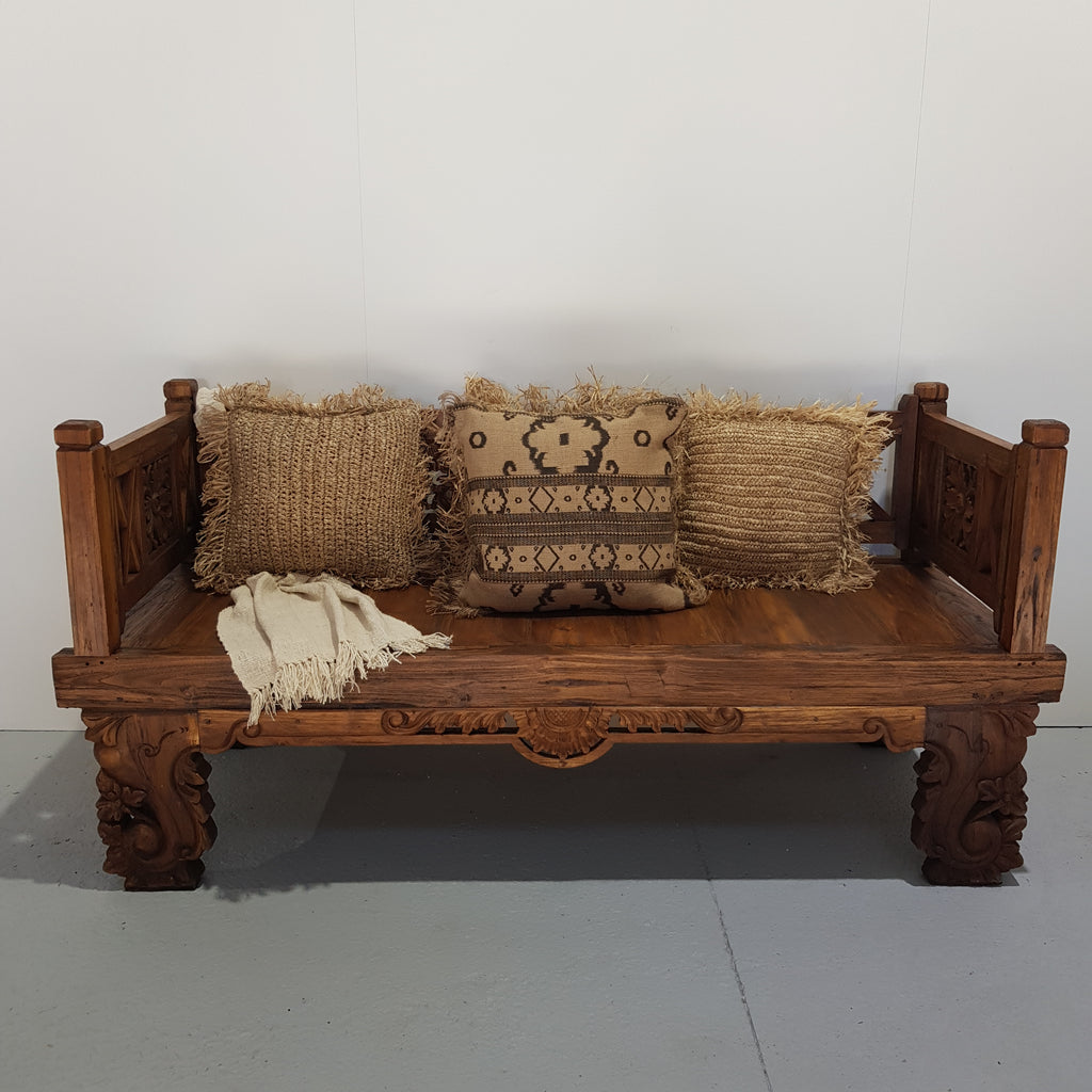 PRE ORDER Balinese Hand Carved Small Natural Daybed