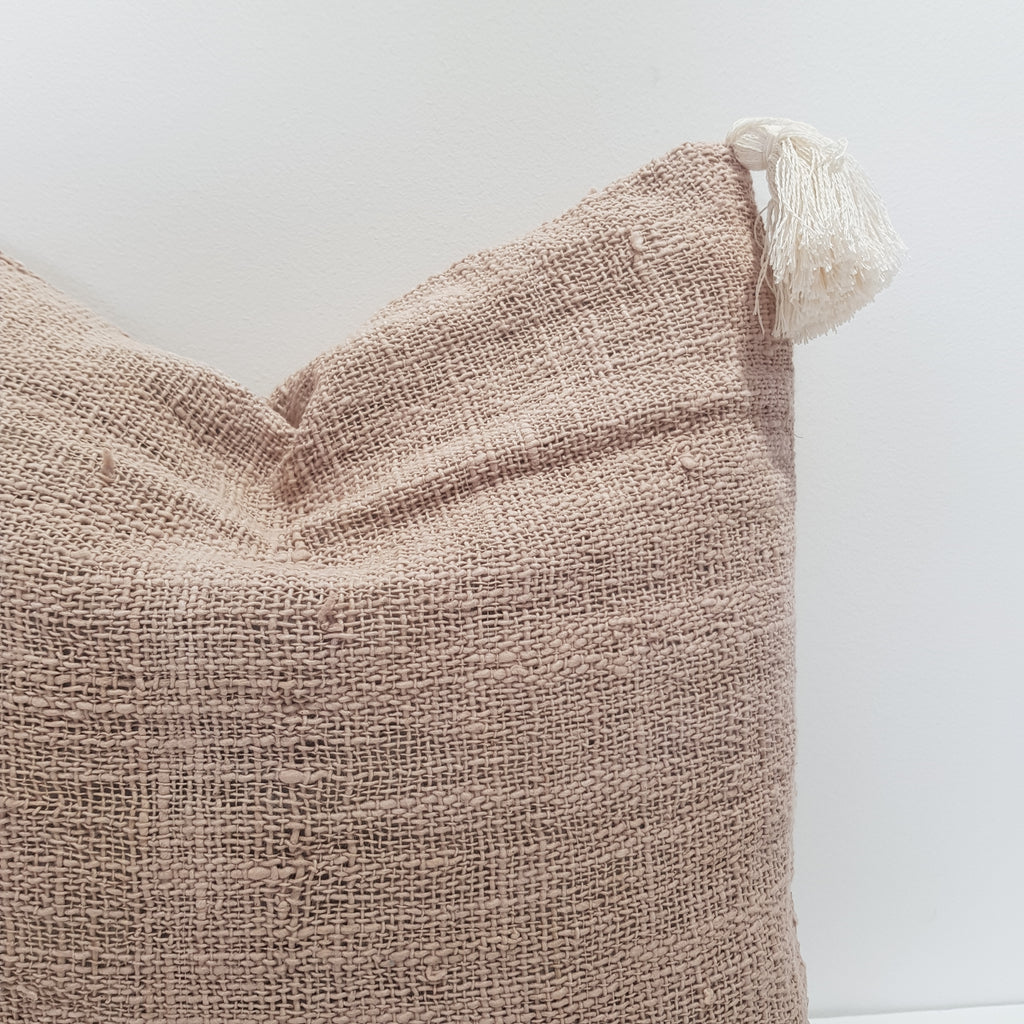 Cotton Cushion Cover with Tassels - Beige 45 x 45