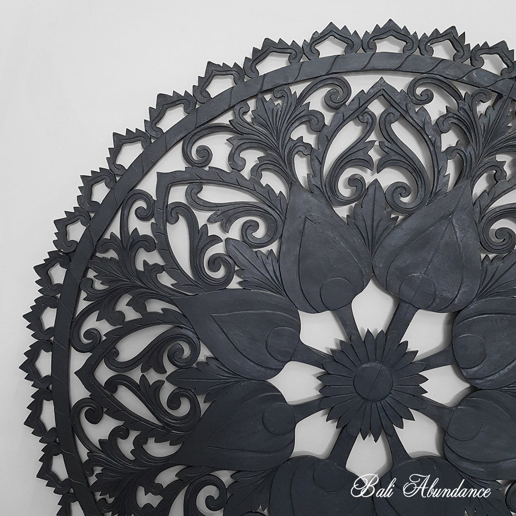 Black Wall Panel Round Mandala Handcarved Bali