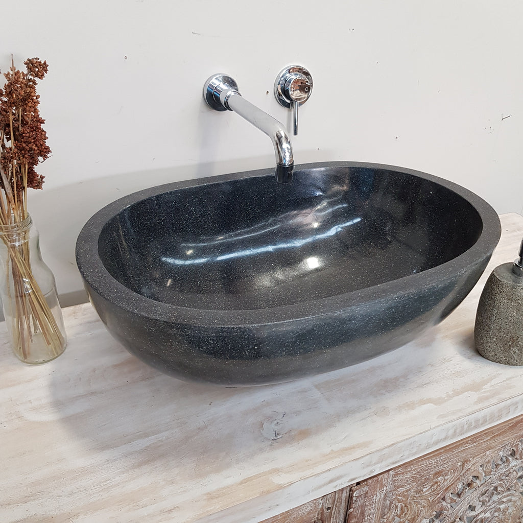 Terrazzo Stone Smooth Black Oval Bathroom Basin No. 29C