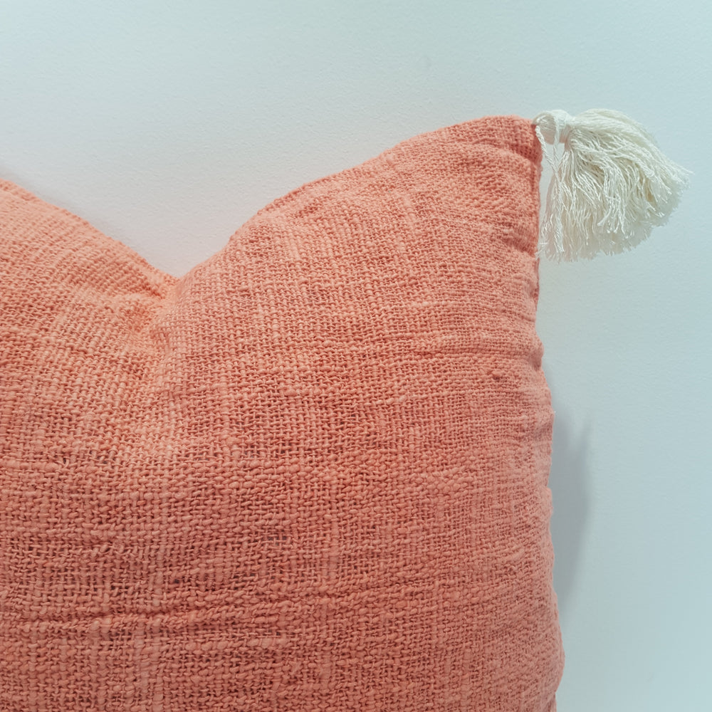Cotton Cushion Cover with Tassels - Coral 45 x 45