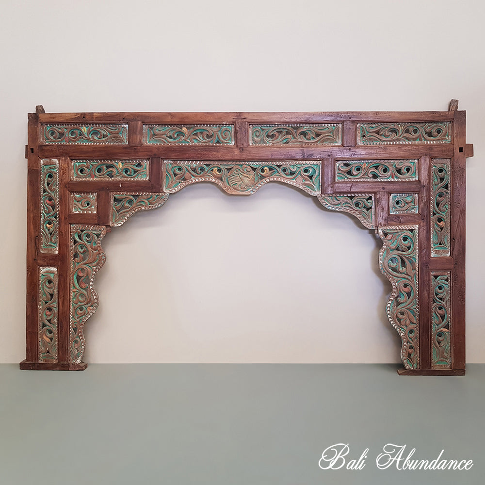 Hand Carved Vintage Teak Bedhead Wall Panel - 2H