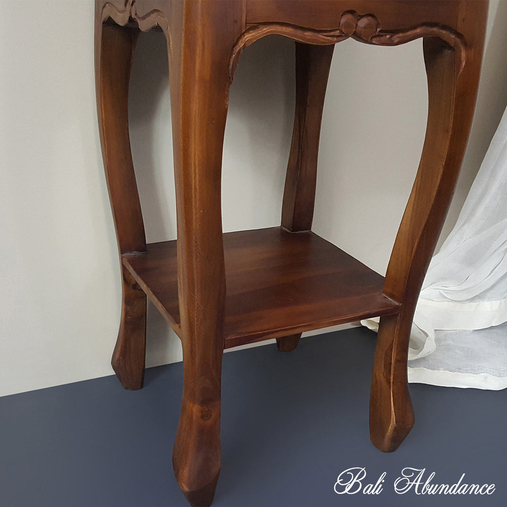 BOMBAY Hand Carved Teak Bedside Table in CHESTNUT
