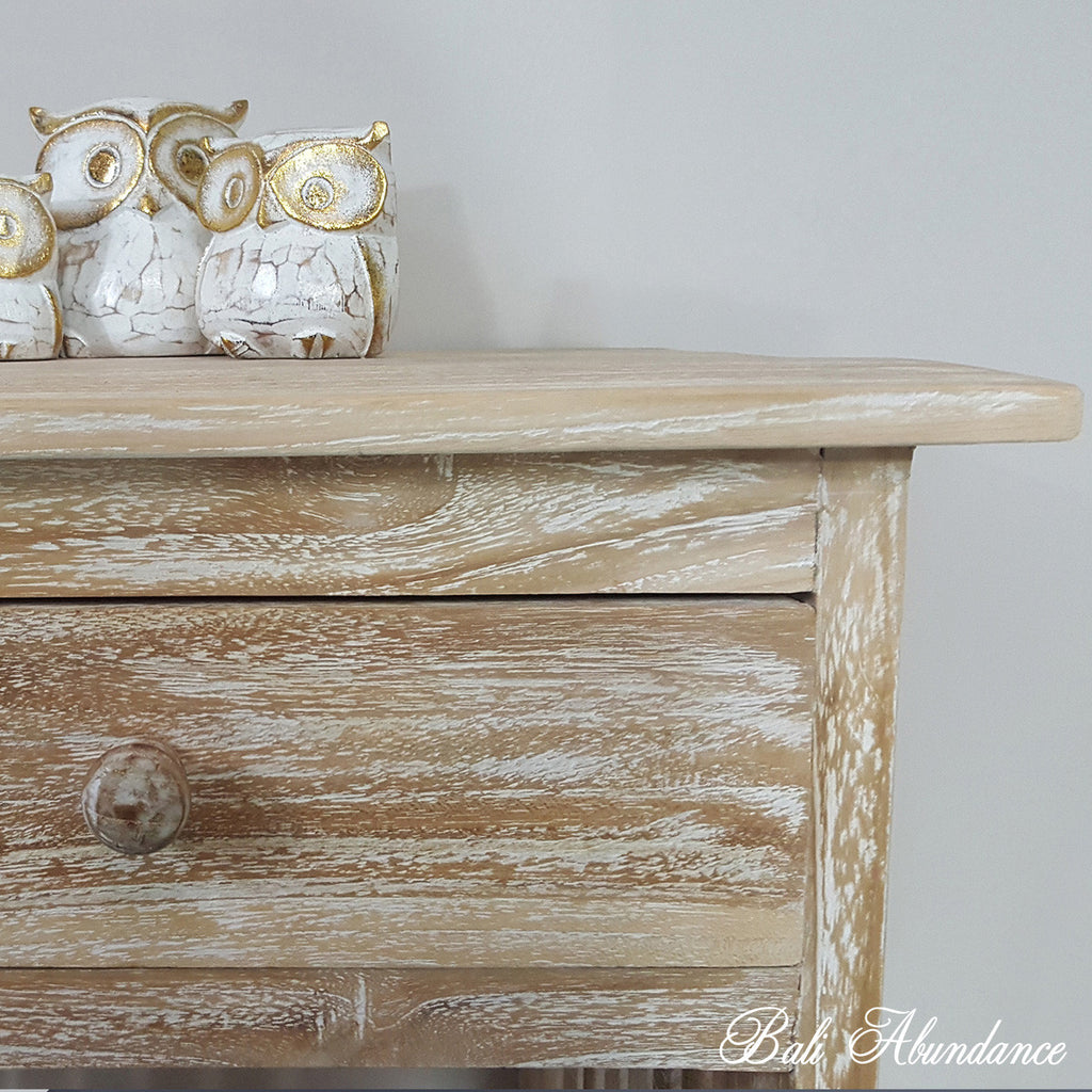 MINIMAL Hand Carved Teak Bedside Table in WHITEWASH