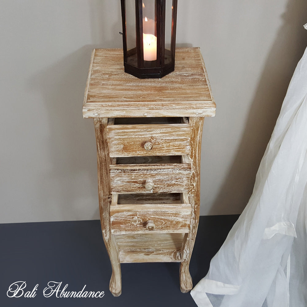 Hand Carved Teak BOMBAY Bedside Table in WHITEWASH