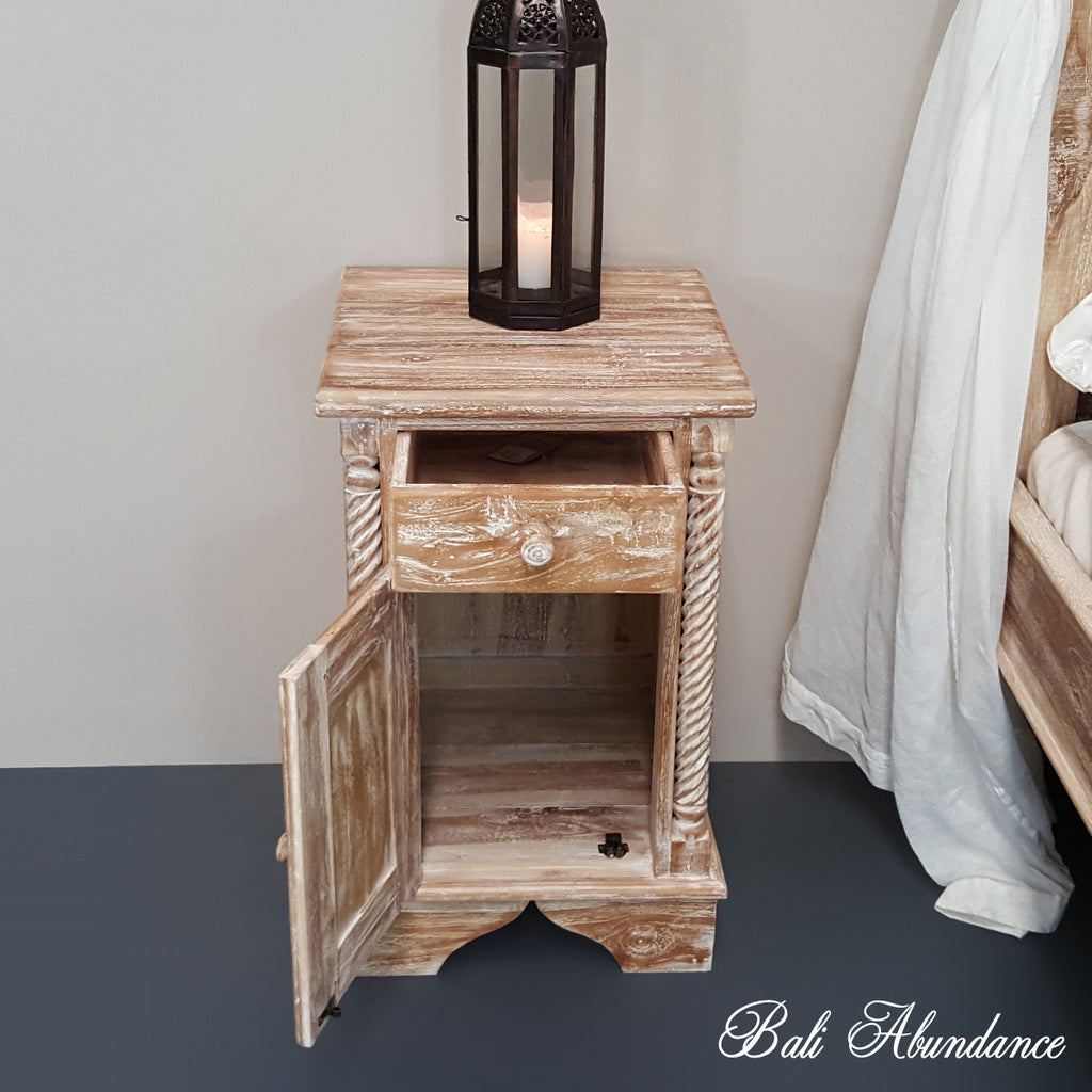 CLASSIC Hand Carved Teak Bedside Table in WHITEWASH