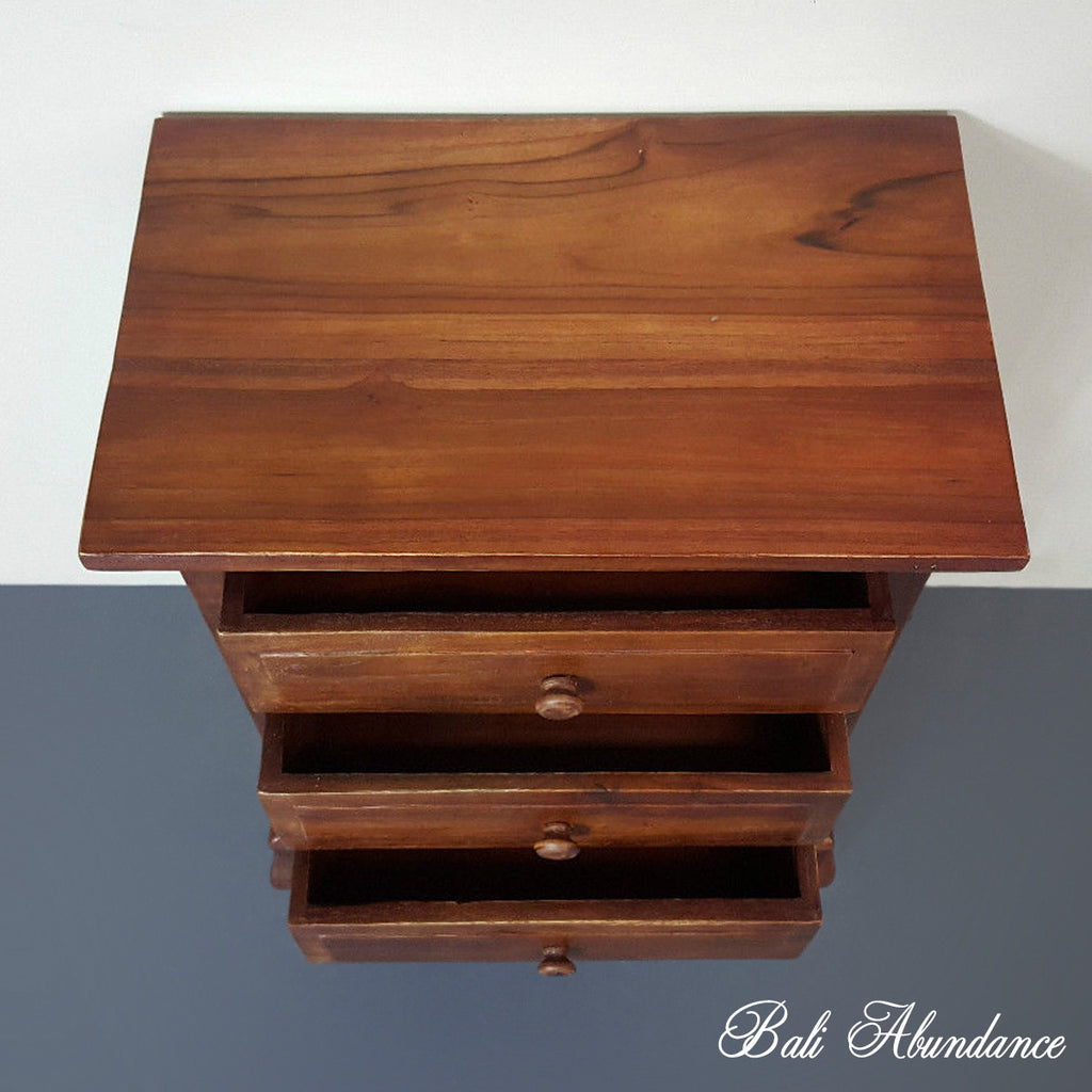 Hand Carved Teak OPIUM Bedside Table 3 Draw in CHESTNUT