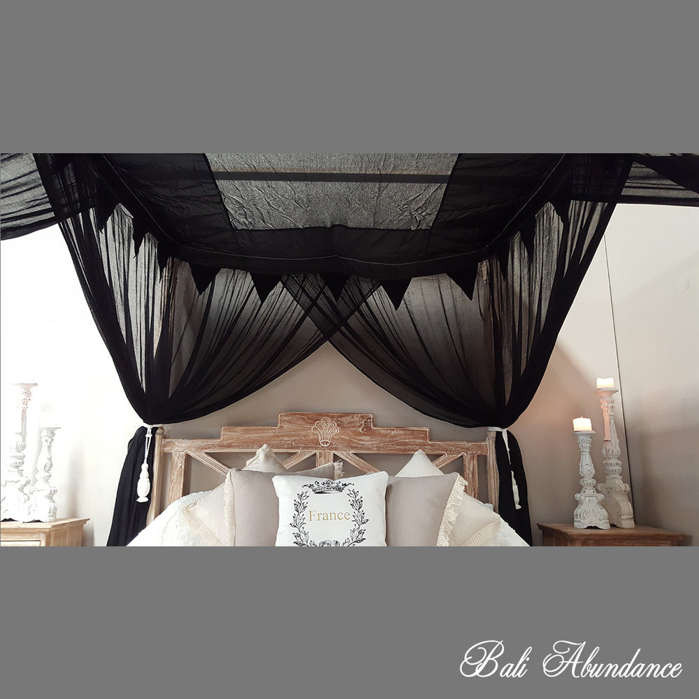STANDARD Canopy Mosquito Net with Decorative Coconut Buttons in BLACK