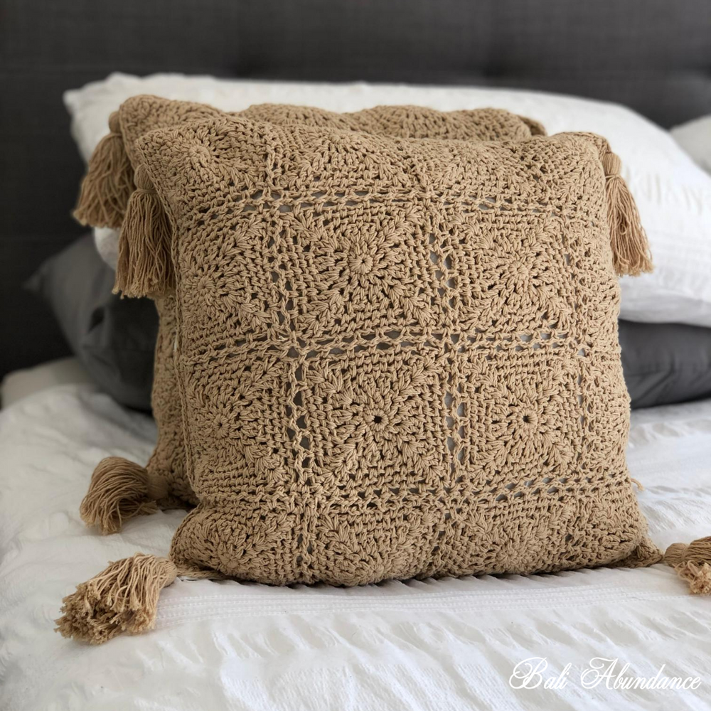 Good Karma Crochet Cushion Cover with Fringe - Tan