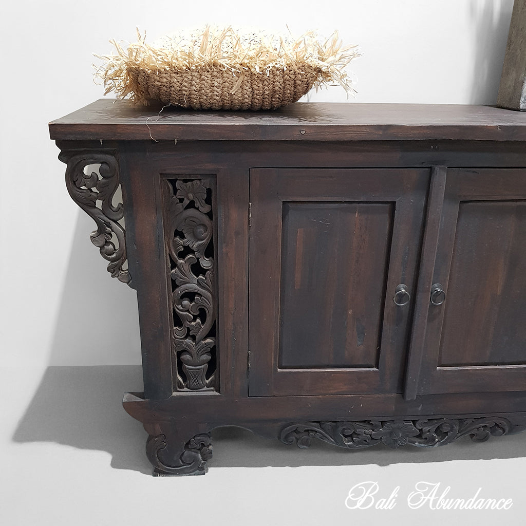PRE ORDER Balinese Hand Carved Console Dresser - Walnut