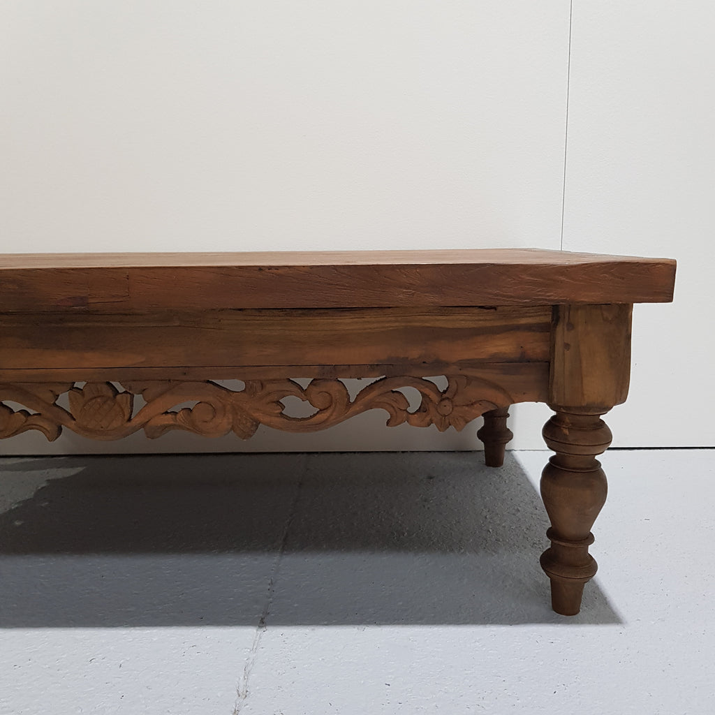 Hand Carved Drawer Coffee Table - Chestnut