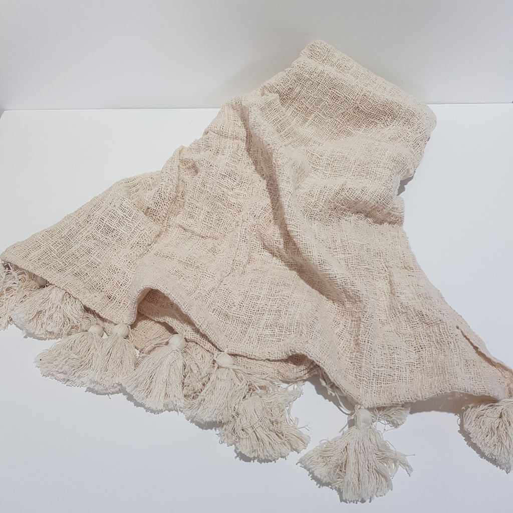 Cotton Throw with Tassels - Cream