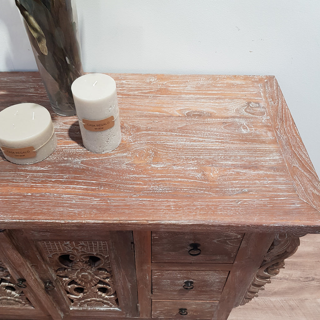 Balinese Hand Carved Console Dresser - Natural