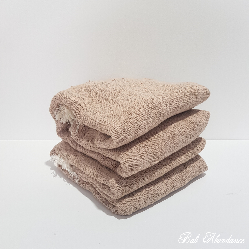 Cotton Throw with Tassels - Beige