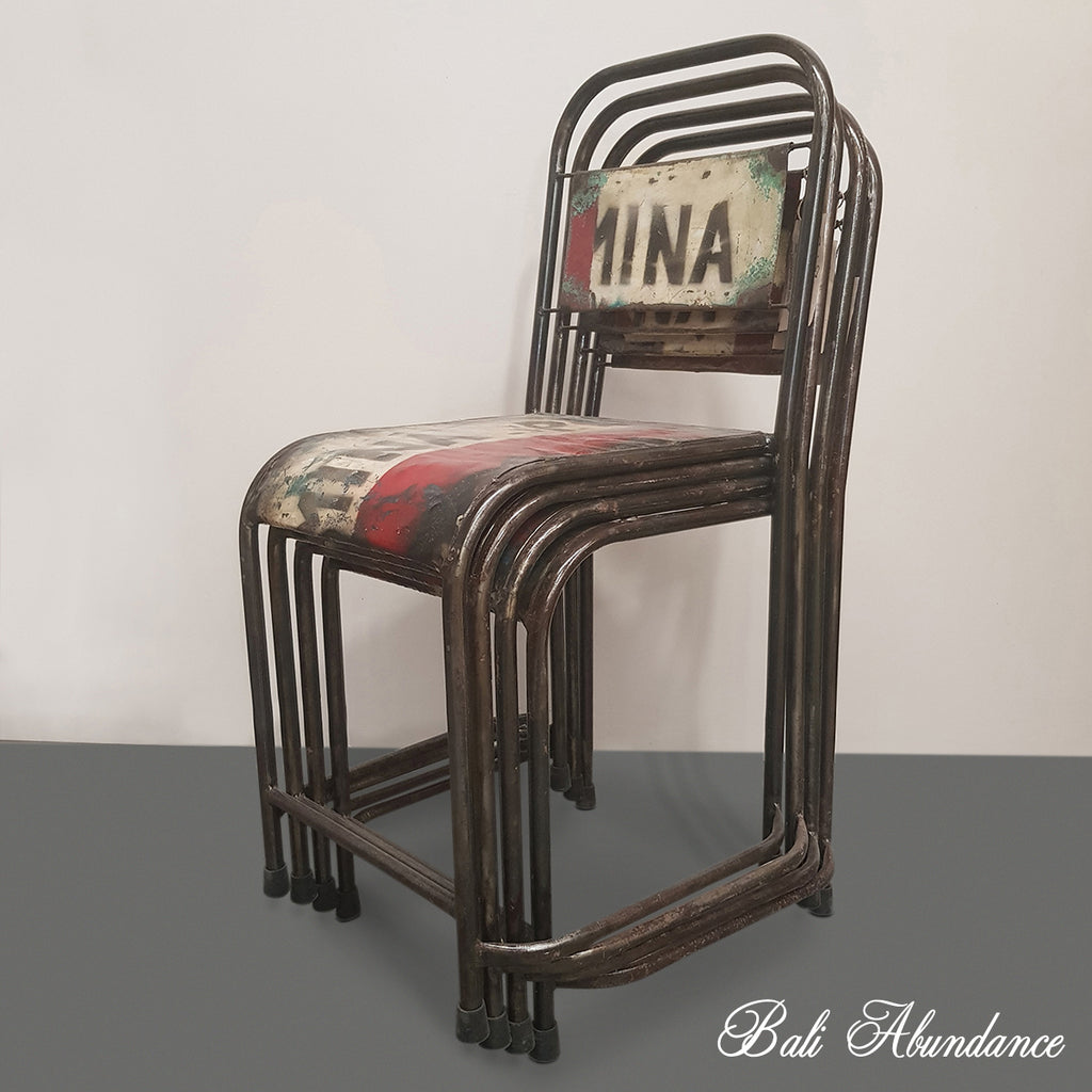 Recycled Industrial Metal Dining Chair – Bali Abundance