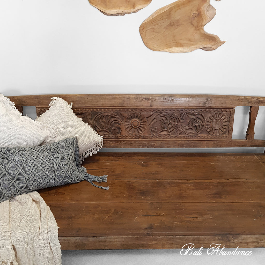 Balinese Hand Carved Vintage Daybed